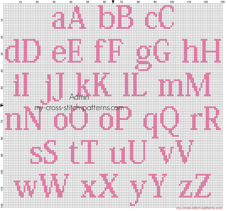 alfabeto_punto_croce_gratis_kozuka_mincho_altezza_20_colore_dmc_3806_per_bimbe