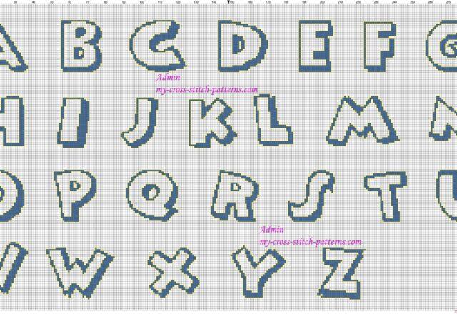 alfabeto_punto_croce_maiuscolo_carattere_disney_topolino_color_blu_e_giallo