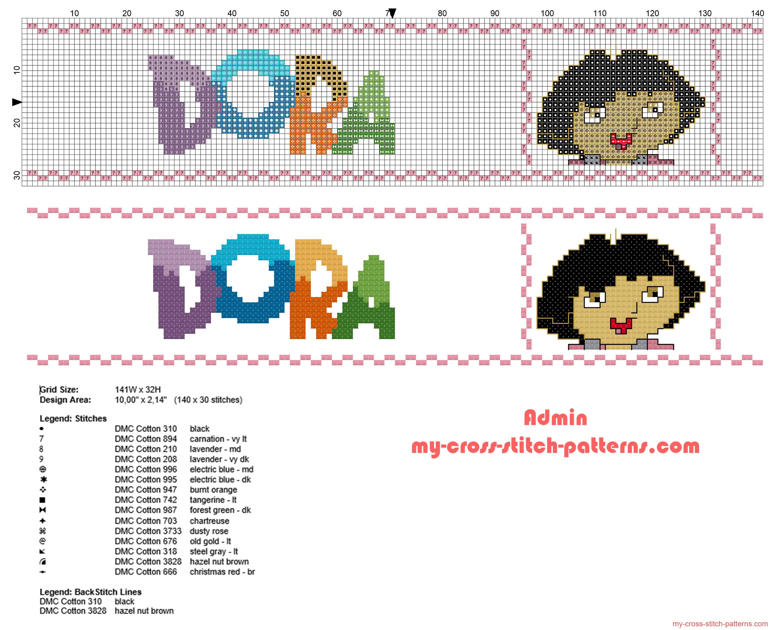 bordo_bordura_punto_croce_con_dora_lesploratrice_e_logo_idea_bimbi