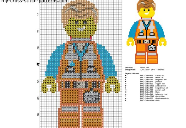 emmett_personaggio_the_lego_movie_schema_punto_croce