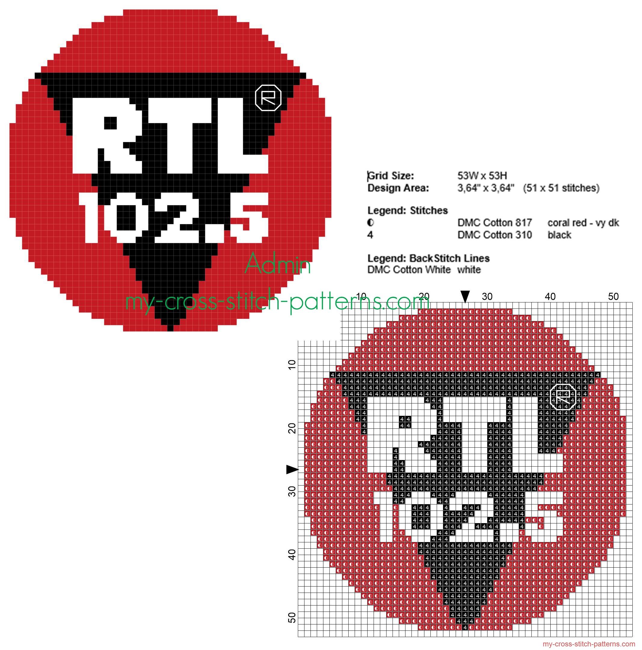 il_logo_della_radio_rtl_102_5_schema_punto_croce_50_crocette