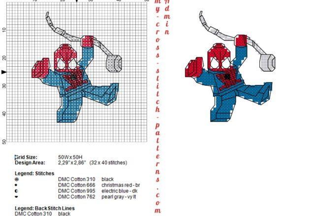 lego_spiderman_schema_punto_croce_32x40_4_colori_dmc