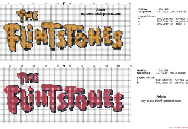 logo_the_flintstones_gli_antenati_schema_punto_croce
