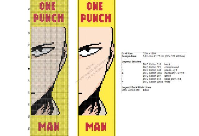 segnalibro_punto_croce_saitama_one_punch_man_32x120
